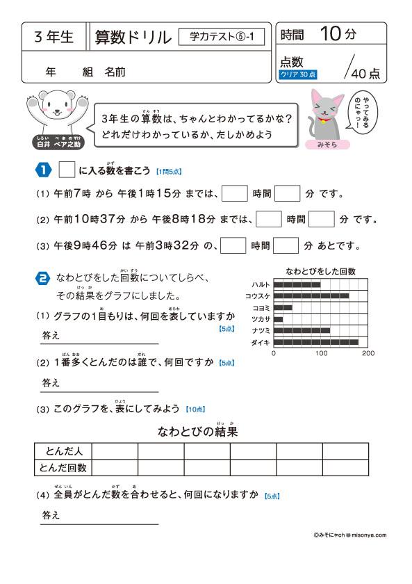 3年生 算数ドリル64 学力テスト5